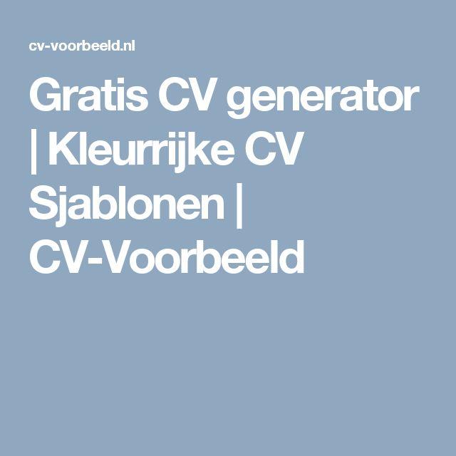 Gratis CV generator | Kleurrijke CV Sjablonen | CV-Voorbeeld