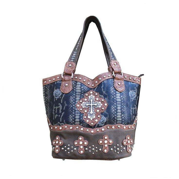 Rhinestone Cross Flower Hobo Style Leather Shoulder Handbag Purse and Matching Wallet in Brown 5260 -- Review more details here