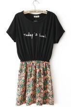Black Short Sleeve Todays Look Print Floral Dress $23.11