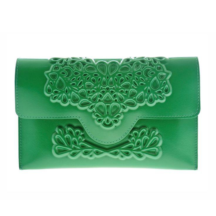 MeDusa Slim Green Clutch Bag. Handmade. Contains inner pocket w/ zipper. Closes via magnet closing. Vegan.