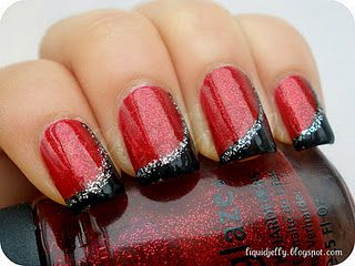 Red and Black with Silver Glitter.. I'd like it with red and blue though.. :)  http://easynaildesigns.org/top-5-red-nail-designs-night/