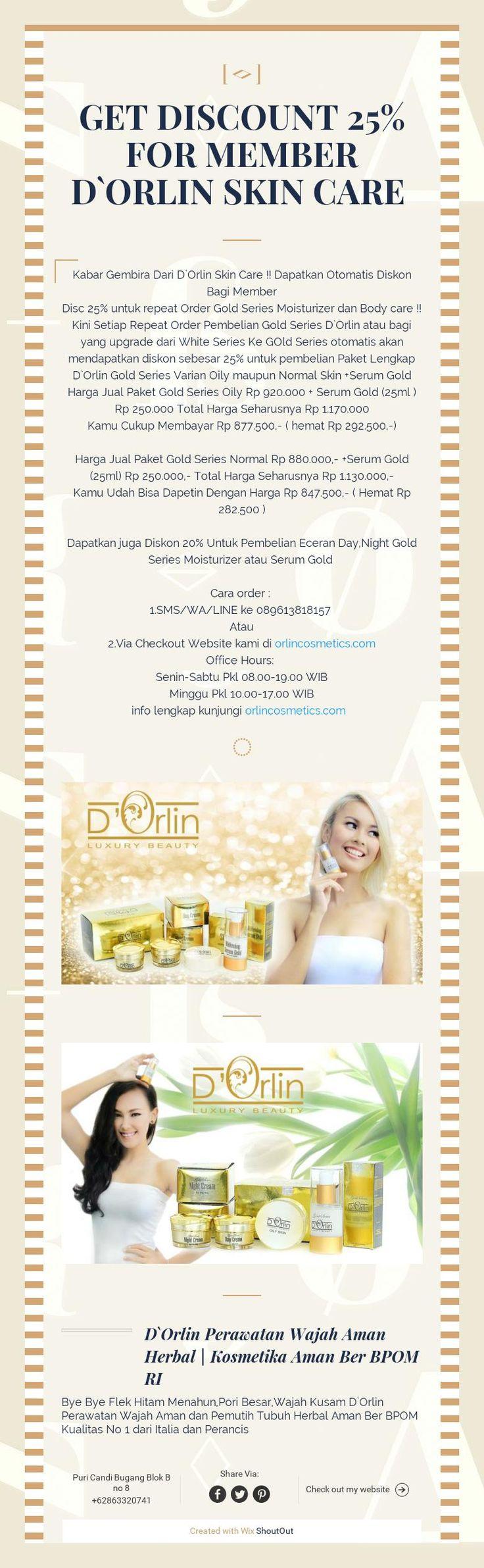 Get Discount 25% FoR MEMBER D`ORLIN SKIN CARE