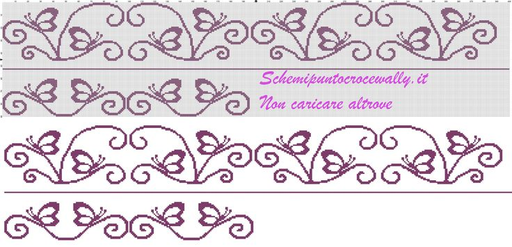 schema punto croce gratis per asciugamani farfalle monocolore - Schemi punto croce gratis di Wally