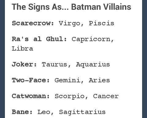 The signs as Batman Villains