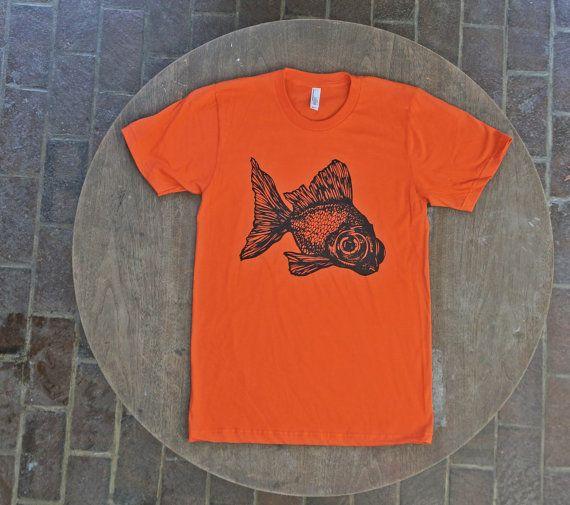 Peces de colores camiseta inconformista Tee naranja American Apparel hombres Unisex algodón Tee