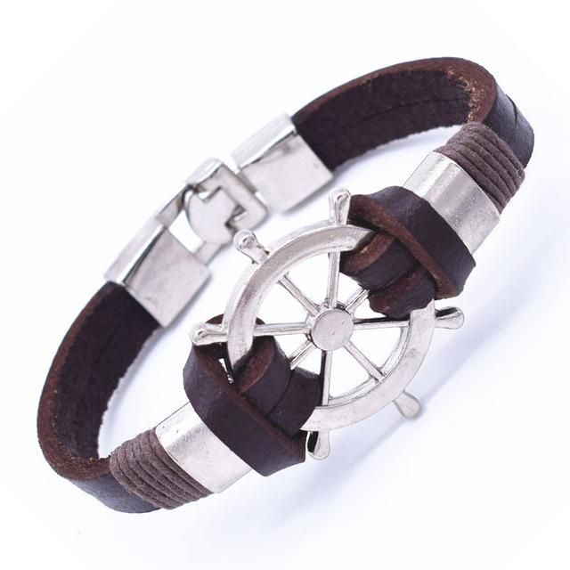 Genuine Leather Anchor Or Sailboat Wheel Bracelet Leather Anchor Bracelet Wheel Bracelet Leather Wrap Bracelet