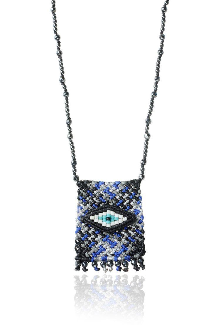 Zoe Kompitsi | Black & Blue Tartan Necklace