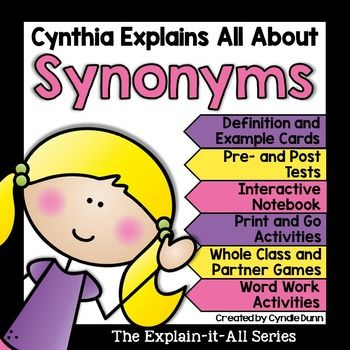 Synonyms are essential to reading comprehension skills.This unit will teach your students about words that mean the same, and it pairs very well with the antonyms unit.