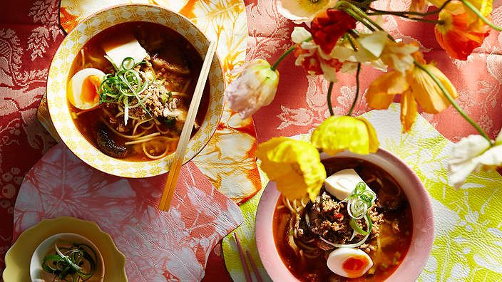 Spicy pork and miso udon noodle soup recipe : SBS Food