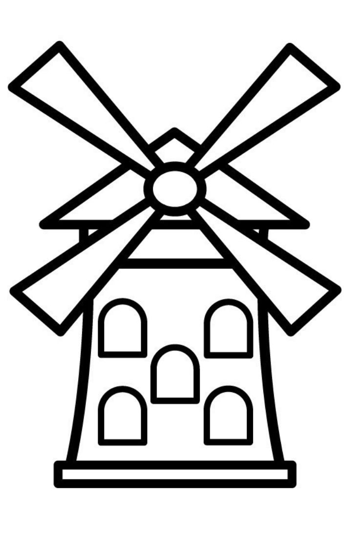 How to Draw Windmill Coloring