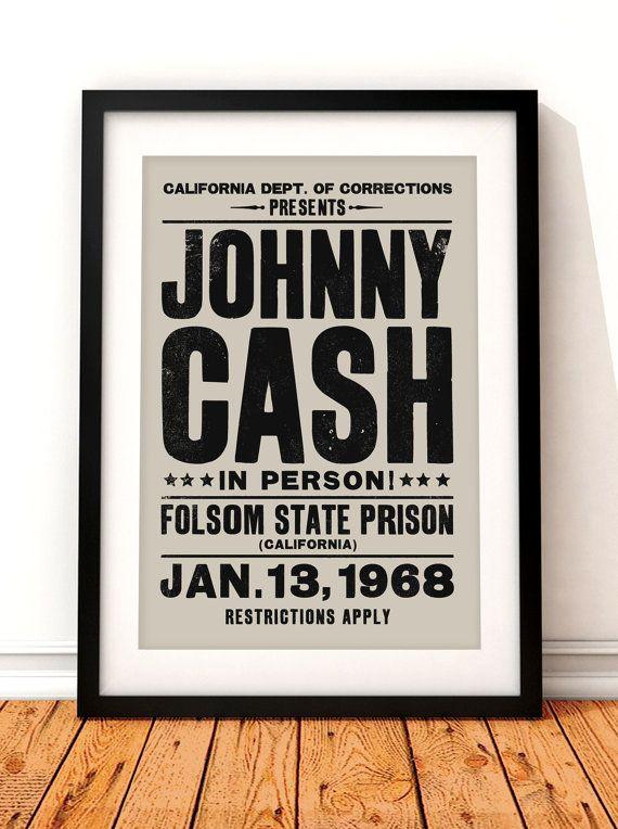 Affiches de concert de Johnny Cash imprimer art par TheIndoorType