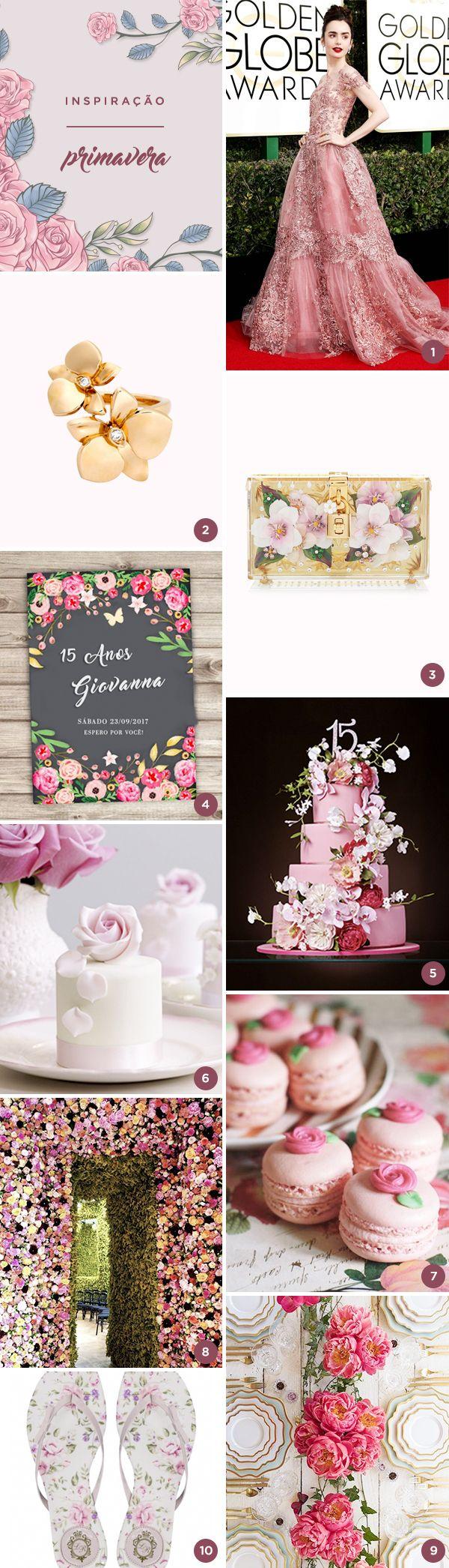 Selecionamos 10 lindas ideias para uma festa de 15 anos com tema Primavera! Ou seja, muitas flores e delicadeza! Vem ver!
