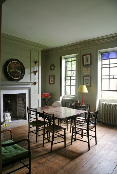 """Marianna Kennedy's dining room in Fournier Street. Completely love the """"simple luxury"""" and the book cloth blinds (recreated in Minster Court)."""