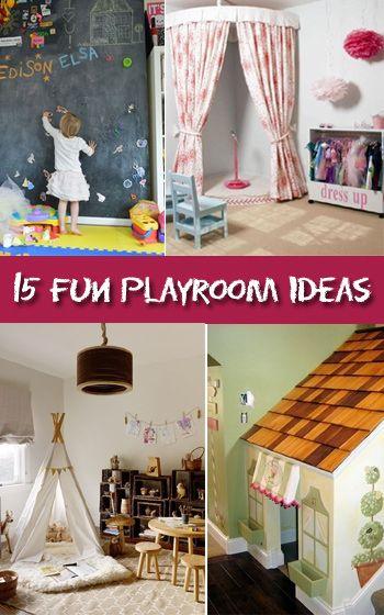 15 Fun Kids Playroom Ideas. Magnetic chalkboard wall, miniature rock climbing wall and more.