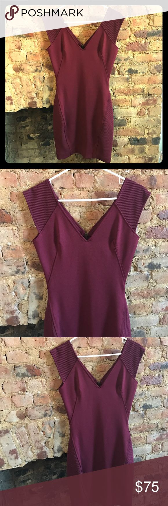 French Connection Wine Bodycon Dress In excellent condition. Maroon/wine-colored bodycon dress. Structured to create flattering silhouette. Ribbed detail at the shoulders and thighs. Truly beautiful outfit. French Connection Dresses Mini