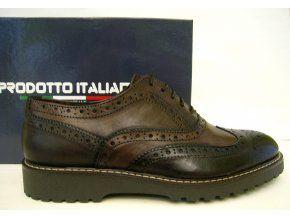 Kvalitní pánská obuv PRODOTTO ITALIANO, tmavě hnědá