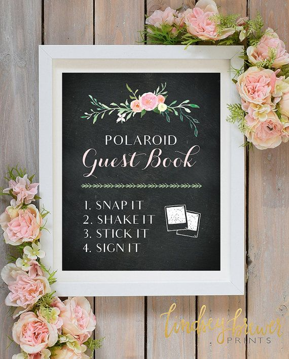 Polaroid Guest Book Chalkboard Floral Sign  by LindseyBrewerPrints
