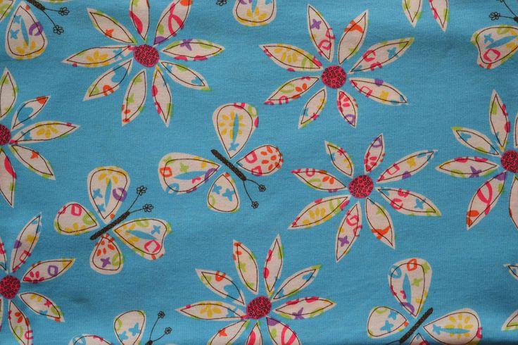 Baumwollstoff   Jersey Polo   Blumen, blau   www.feendesign-shop.de