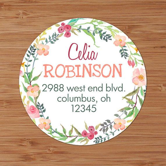 Pink & Coral Floral Wreath Custom Address Labels or Stickers by PoshGirlBoutique