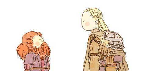 """Gi: Papa, aku bawa temen peri...namanya Legolas L: Halo om Gloin... Gl: Lho ini kan yang nawan papa dulu di Mirkwood, HEH KAMU JANGAN SOK GAK KENAL DEH, PERI"""""""