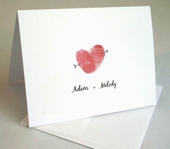 Idea for thank-you notes. Uses our thumbprints to make a heart. Too cute.
