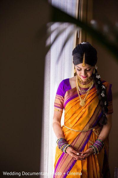 South Indian bride. Temple jewelry. Purple and mustard silk kanchipuram sari. Braid with fresh flowers. Tamil bride. Telugu bride. Kannada bride. Hindu bride. Malayalee bride.