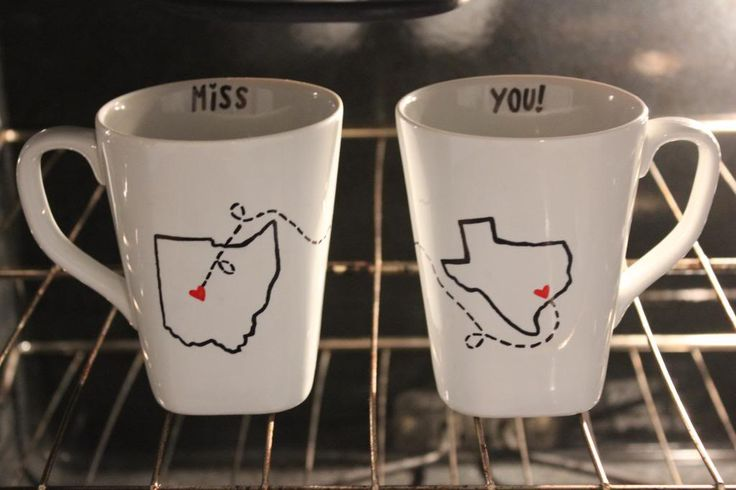 """Miss You"" mugs... Seems appropriate for the hubby!! :)"