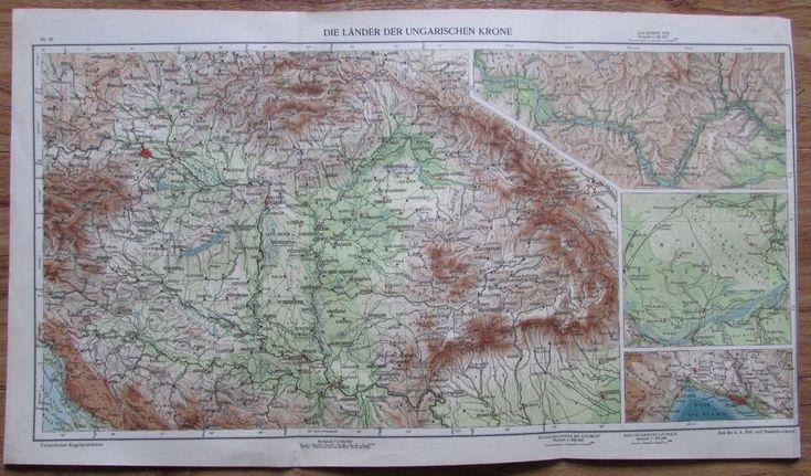 Die Länder der Ungarischen Krone - 51 x 29 cm alte Karte aus 1913 old map