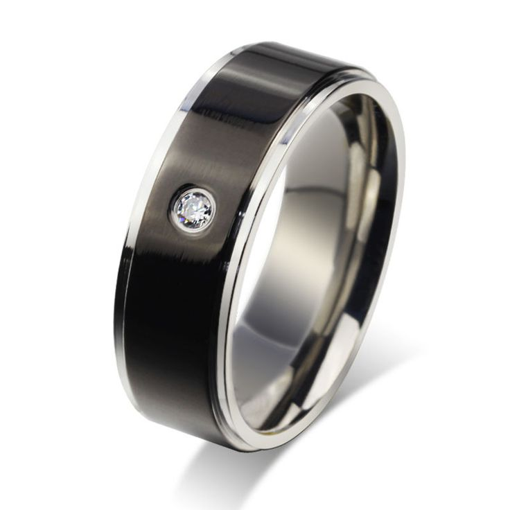 Stainless steel classic mens wedding band with CZ stone flat edges comfort fit Sizes 7 to 13 free shipping-in Rings from Jewelry on Aliexpress.com | Alibaba Group