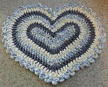~ Crocheted Heart Rug ~ Made using fabric strips....