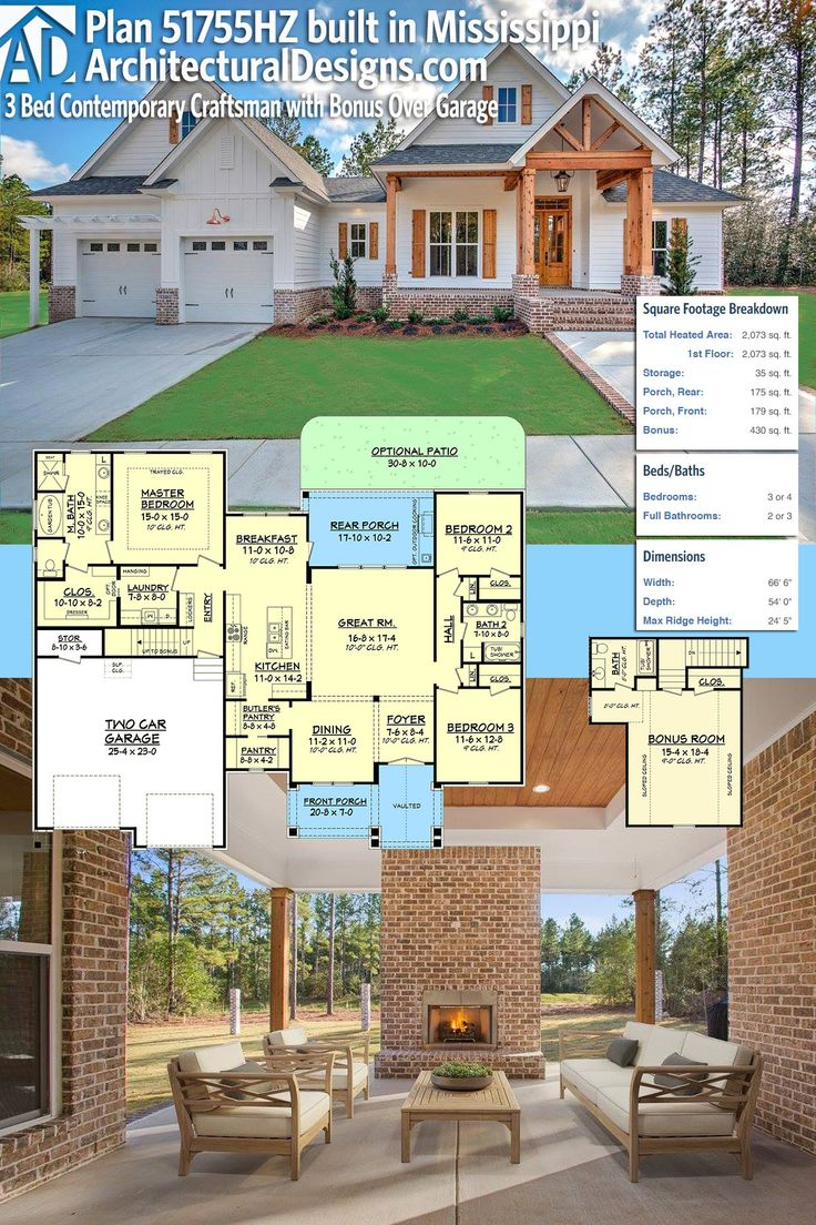 Superb Architectural Designs House Plan 51755HZ Built By Our Client, HD Homes, In  Mississippi.