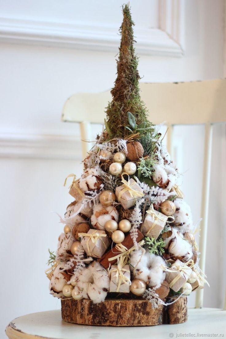 Купить Настольная елочка в бежевых тонах - Новый Год, елка, бежевый, подарок, Праздник