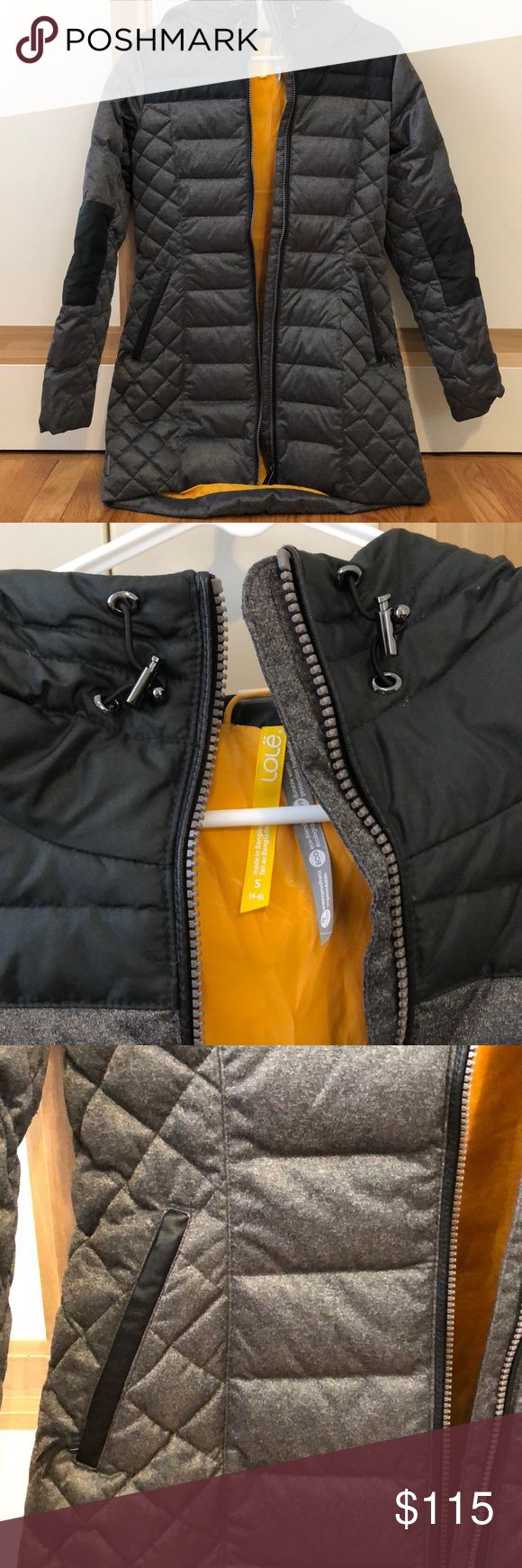 Women's Lole Jacket Black and grey with yellow interior women's Lole Jacket. Water resistant. Very warm!! Longer in back, fitted for women. Zipper enclosure with hood. Lole Jackets & Coats Puffers