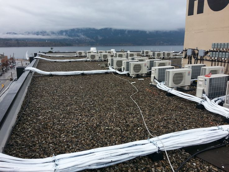 Rooftop Cooling Systems & Condensers Located On The Roof