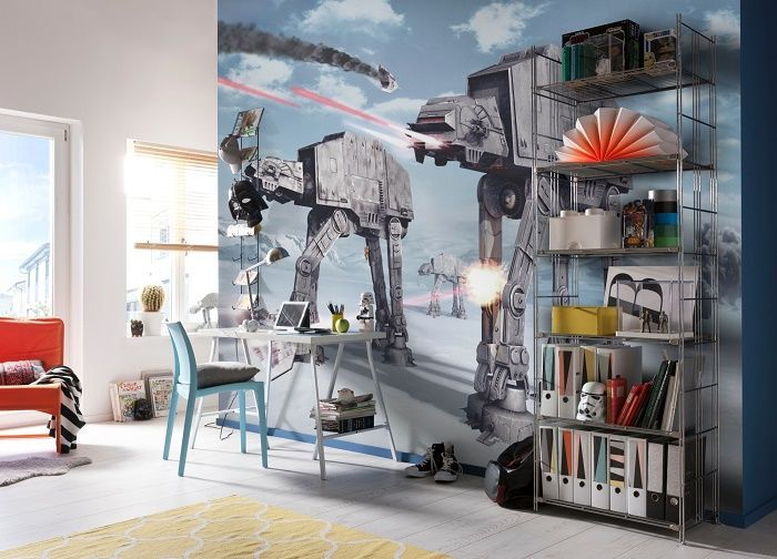 Giant size Star Wars Battle of Hoth wallpaper mural. Amazing decoration idea wall mural photo wallpaper for home interior walls. Living room or bedroom.  Express sipping available.