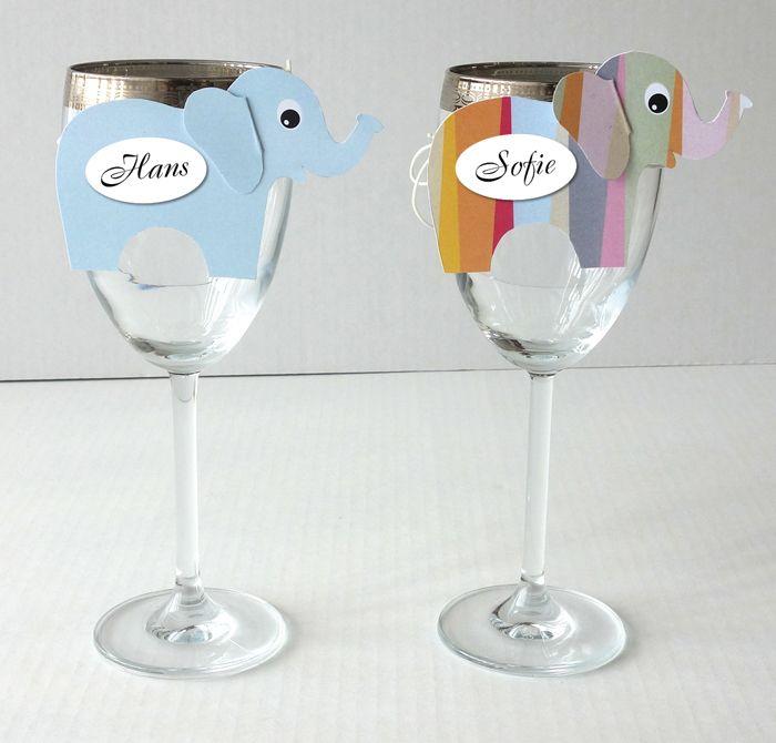 Små elefanter som bordkort. Download skabelon på www.filii.dk/blog