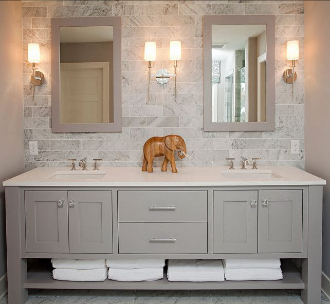 Like This Color Grey Would Want One Large Mirror Refined Llc Exquisite Bathroom With Freestanding Gray Double Sink Vanity Topped With White Counter