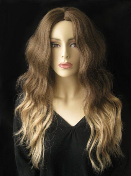 Dip dye two tone chocolate brown and honey blonde wig ...