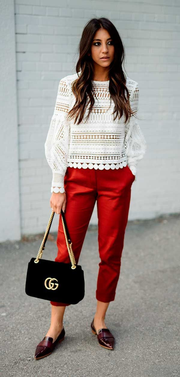 Red pants with lace  | For more style inspiration visit 40plusstyle.com