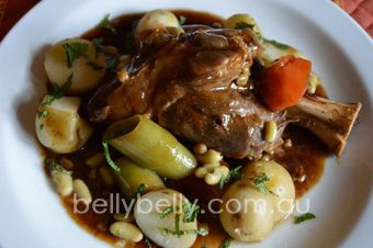 Lamb shanks recipe. See the full recipe here: http://www.bellybelly.com.au/recipes-cooking/lamb-shanks-irish-style-braised-lamb-shanks-recipe