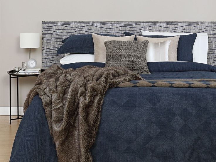 California King CoverQuick Headboard - Inspired by nature Tasman Blue Fabric from the Tru Living collection and a sumptuous fur throw.
