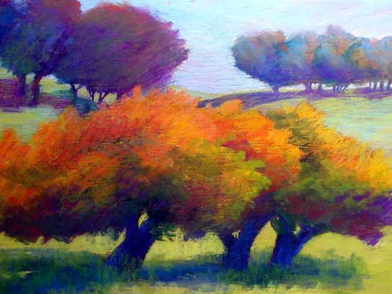 Apple Trees In Autumn By Mary Carroll Moore Soft Pastel