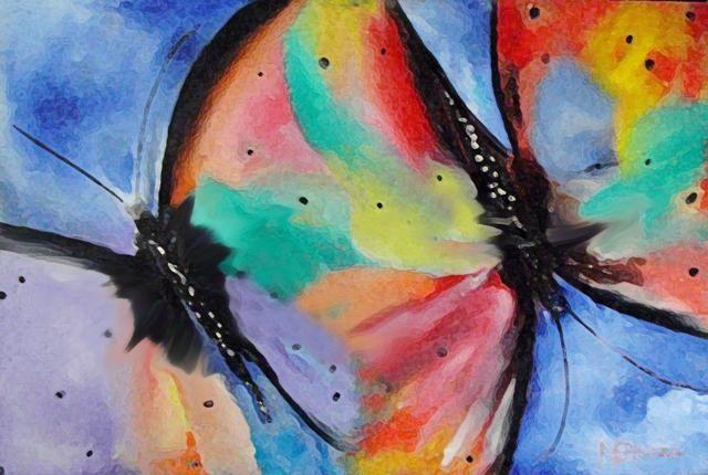 Voo das borboletas - Painting,  120x80 cm ©2008 por Mário Brazil -  Pintura