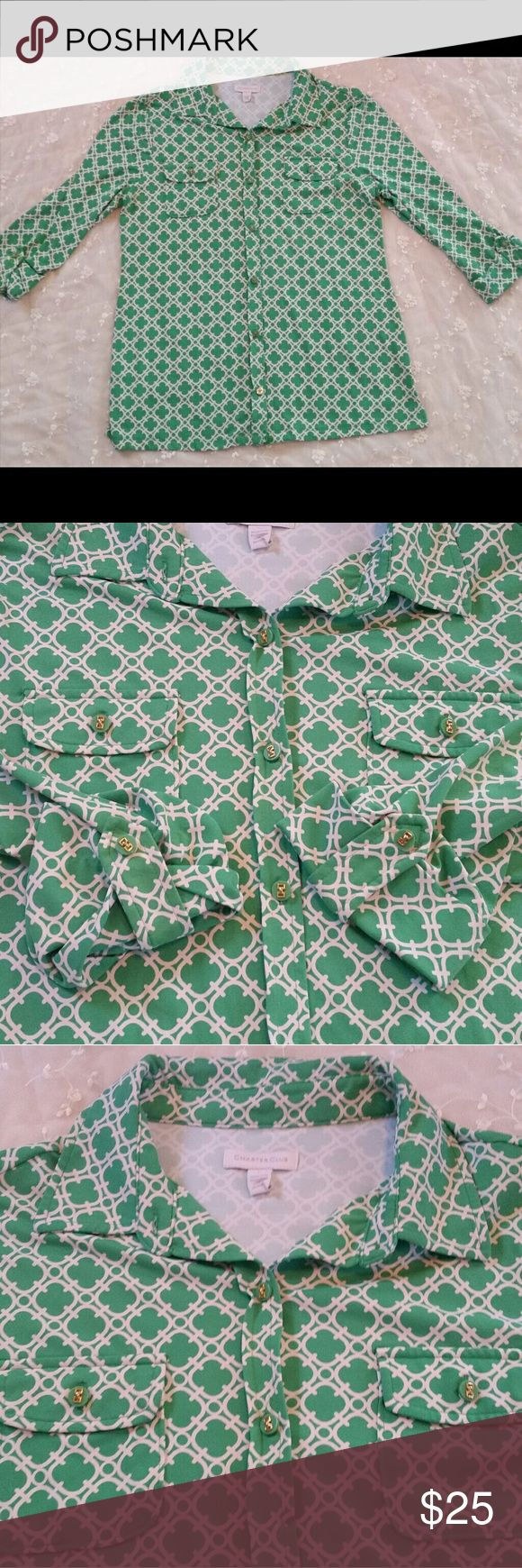 Green & White Patterned Charter Club Shirt Beautiful green & white geometric pat…