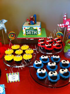 Sesame Street Birthday Party Ideas -- want to make elmo cupcakes for Brooks' birthday!