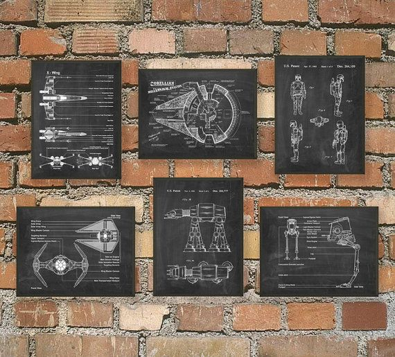 Ultimate Star Wars Print Set Of 6 - Star Wars Spacecraft - X-Wing - TIE Fighter - AT AT - Boba Fett - Star Wars Decor - Science Fiction Gift  This set of six Star Wars posters is printed using high quality archival inks on heavy-weight archival paper with a smooth matte finish. The archival properties of the professional materials used to produce these prints will prevent yellowing of the paper and fading of the colors for at least 80-100 years!  Please choose between different colors and…