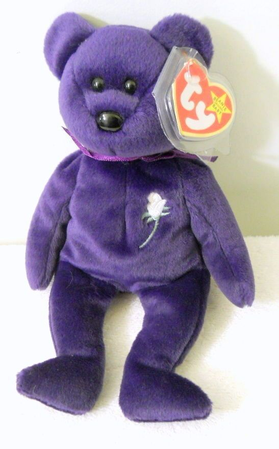 1997 Princess Diana Bear Original 1st Edition Purple Fur +Rose PE Pellets Plush #Ty