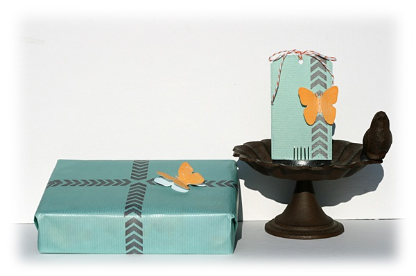 Petra Offrell's chevron stamped gift tag and wrapping paper has given me lots of ideas about how to personalise for an up and coming birthday!