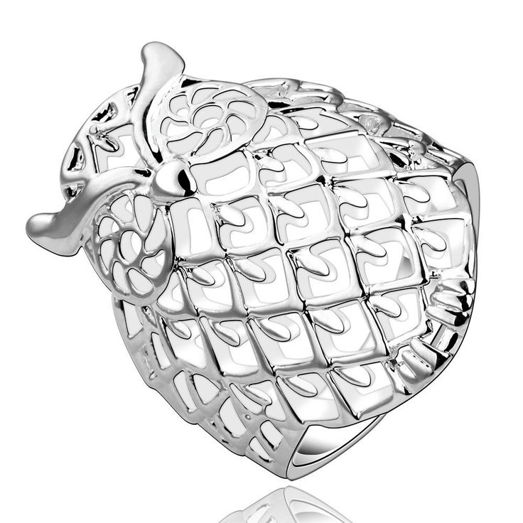 925 Sterling Silver Filled Filigree Big Owl Wedding Engagement Band Ring Jewelry   eBay