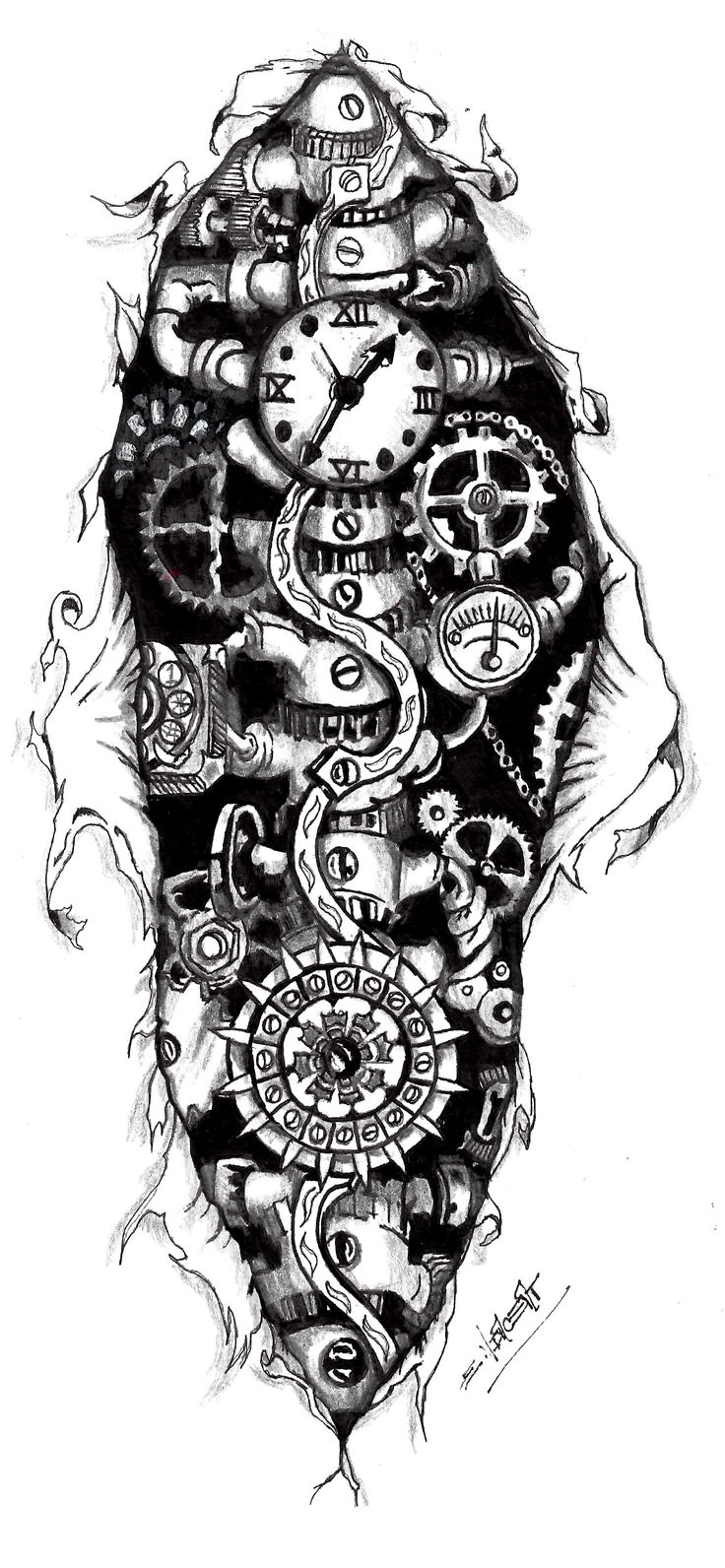 Steampunk Gears Tattoo | Steampunk Clock Tattoo Designs Steampunk cloc.